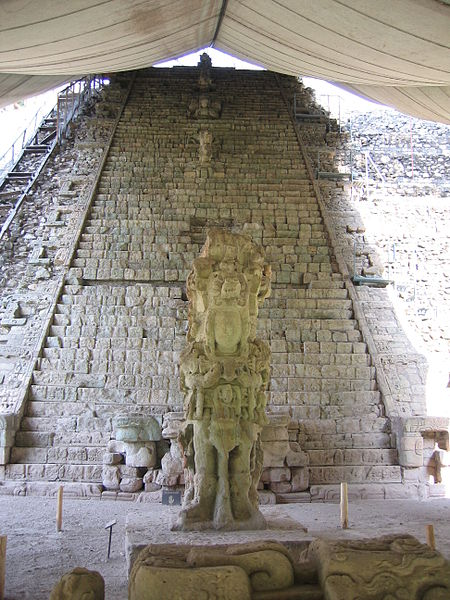 450px-Stela_M_and_the_Hieroglyphic_Stairway_on_the_archeological_site_of_Copán,_a_mayan_city